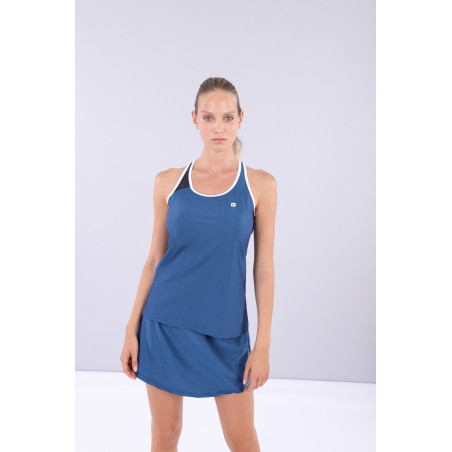 Criss-Cross Yoga Tank Top - Made in Italy - B107BW - Blu Vienna