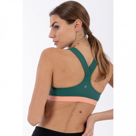 Yoga & Sports Bra - Made In Italy - V37P - Smoke Pine & Blooming Dahlia