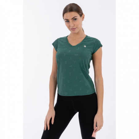 Yoga T-Shirt With Textural Print - Made In Italy - V37 - Smoke Pine