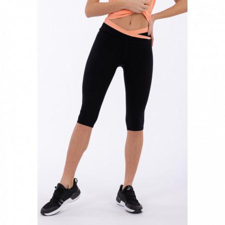 Superfit Yoga Leggins - Corsair-Length - Made In Italy - NP111 - Black & Blooming Dahlia