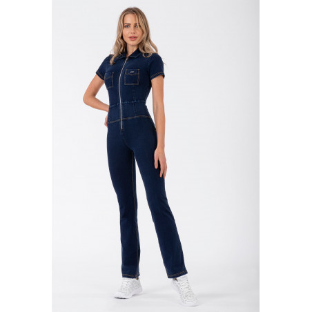 Костюм WR.UP® Denim Effect - 70s'-Style Jump Suit - J0Y - Dark Denim - Yellow Seam