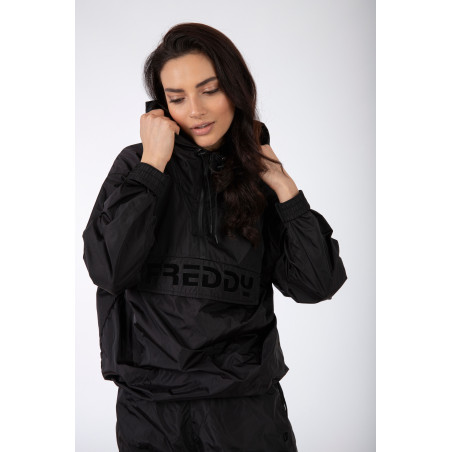 Nylon Jacket With A Hood And Large Pocket - N - Black