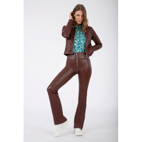 Брюки WR.UP® Ecoleather - High Waist Flare - 70S-Style Mille Rayé - M33 - Brown