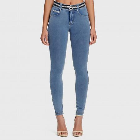 N.O.W.® Pants - Mid Waist Skinny - J4Y - Light Blue Denim - Yellow Seam