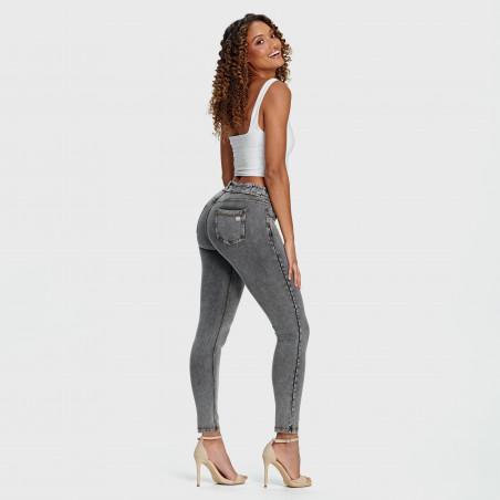 Брюки N.O.W.® Pants - Mid Waist Skinny - J3Y - Grey Denim - Yellow Seam