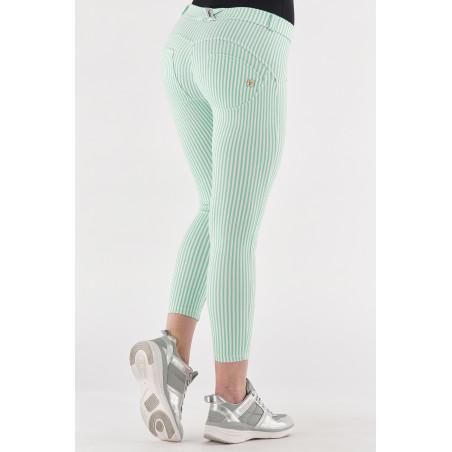 WR.UP® Regular Waist Super Skinny - 7/8 Lenght - Striped Stretch Jersey - D50W - Green Ash & White Stripes