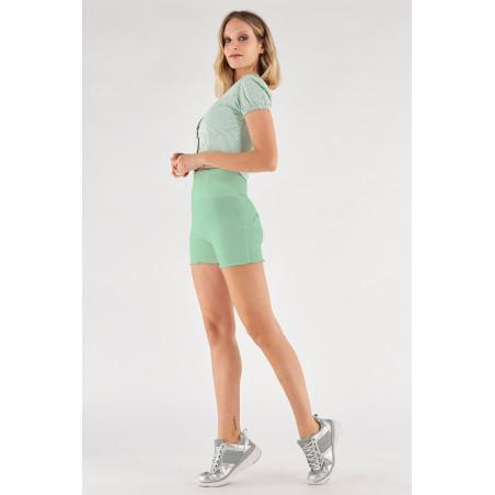 WR.UP® Denim Effect - High Waist Shorts - Frayed Hemline - D50 - Green Ash