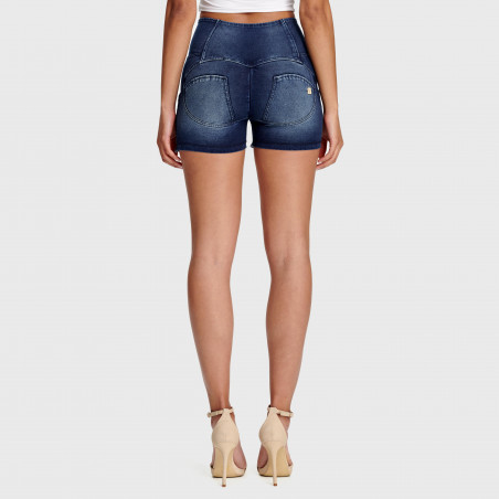 WR.UP® Denim Effect - High Waist Shorts - Frayed Hem - J0B - Dark Denim - Blue Seam