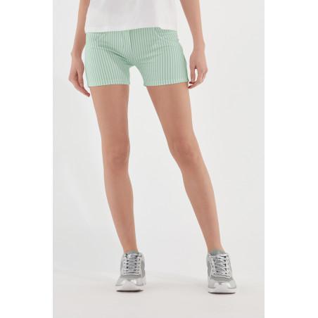 WR.UP® Shorts - Regular Waist Skinny - Striped - D50W - Green Ash & White Stripes