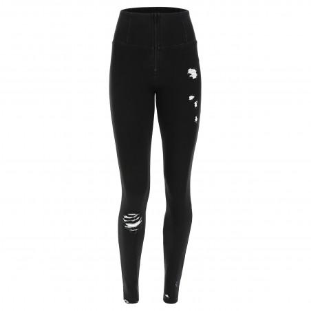 WR.UP® Denim Effect - High Waist Skinny - Used Look - J7N - Black Denim – Black Seam