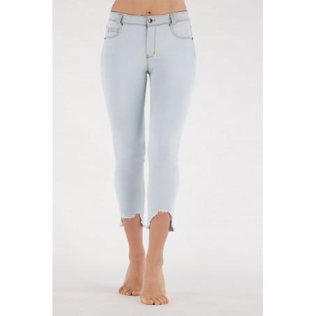 Freddy Black - Skinny Destroyed Jeans in Stretch Denim - 7/8 Length - J85Y - Light Blue Denim - Yellow Seam